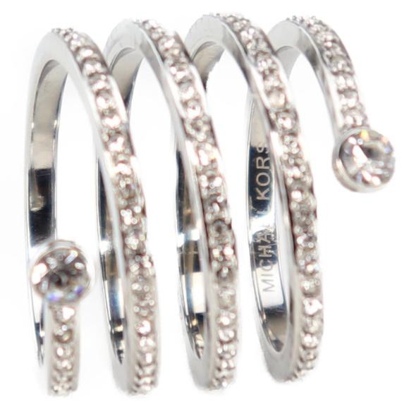 de14396e0a549 Michael Kors Silvertone PARK AVENUE Pave Coil Ring.  M 5c364b5f04e33db5295a1959